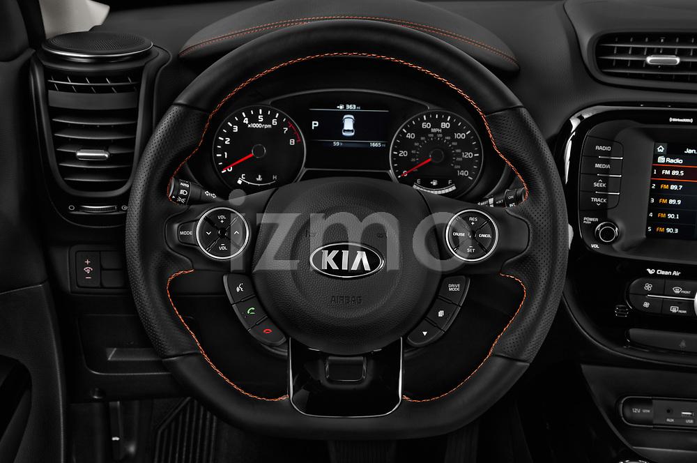 Car pictures of steering wheel view of a 2018 KIA Soul Exclaim 5 Door Hatchback Steering Wheel