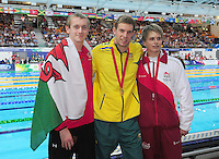 The medalists for the men's para-sport 200m freestyle S14 final, from left, bronze medalist Wales' Jack Thomas, gold medalist Australia's Daniel Fox and silver medalist England's Hamer Thomas<br /> <br /> Photographer Chris Vaughan/CameraSport<br /> <br /> 20th Commonwealth Games - Day 3 - Saturday 26th July 2014 - Swimming - Tollcross International Swimming Centre - Glasgow - UK<br /> <br /> © CameraSport - 43 Linden Ave. Countesthorpe. Leicester. England. LE8 5PG - Tel: +44 (0) 116 277 4147 - admin@camerasport.com - www.camerasport.com