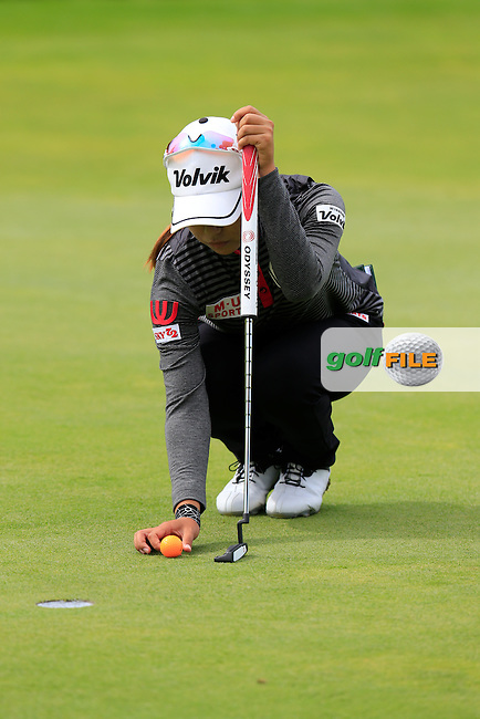 Mi Hyang Lee (KOR) lines up her putt on the 5th green during Sunday's Final Round of the LPGA 2015 Evian Championship, held at the Evian Resort Golf Club, Evian les Bains, France. 13th September 2015.<br /> Picture Eoin Clarke | Golffile