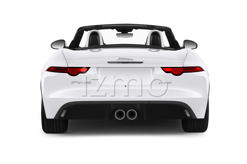 Straight rear view of 2019 Jaguar F-Type - 2 Door Convertible Rear View  stock images