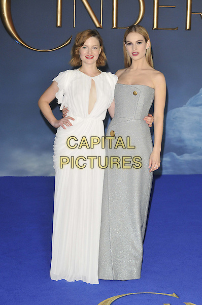 LONDON, ENGLAND - MARCH 19: Holliday Grainger &amp; Lily James attend the &quot;Cinderella&quot; UK film premiere, Odeon Leicester Square cinema, Leicester Square, on Thursday March 19, 2015 in London, England, UK. <br /> CAP/CAN<br /> &copy;Can Nguyen/Capital Pictures