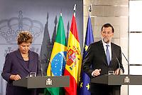 ATENCAO EDITOR FOTO EMBARGADA PARA VEICULO INTERNACIONAL - MADRID - ESPANHA 19 DE NOVEMBRO 2012 - DILMA ROUSSEFF ESPANHA A presidente da Republica do Brasil, Dilma Rousseff durante encontro com primeiro ministro Mariano Rajoy no Palacio de Moncloa na cidade de Madrid na Espanha na manha desta segunda-feira19. FOTO: ALFAQUI - BRAZIL PHOTO PRESS.