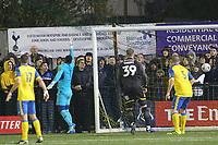 Mitchell Pinnock scores the winning goal during Haringey Borough vs AFC Wimbledon, Emirates FA Cup Football at Coles Park Stadium on 9th November 2018