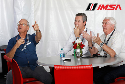 3-4 June, 2016, Detroit, Michigan USA<br /> Jim France, Ed Bennett and Roger Bailey watch the start from the WeatherTech Paddock club<br /> &copy;2016, Michael L. Levitt<br /> LAT Photo USA