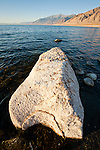 Lahontanite boulders in the morning on the western shore of Nevada's Walker Lake.