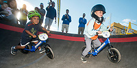NWA Democrat-Gazette/BEN GOFF @NWABENGOFF<br /> Jesse McCourt (left), 3, of Springdale races Beckett McGraw, 4, of Bentonville Wednesday, Oct. 10, 2018, during the Strider Bikes pump track races at The Jones Center's Runway Bike Park in Springdale. McCourt was the overall winner for the age group, with McGraw second. Children ages 3-6, divided into two age groups, raced head-to-head to see who was the fastest on the balance bikes designed to help young children learn how to ride. It was the first competetive event to use the new pump track that was built to host the Red Bull Pump Track World Championship Final coming up Saturday.