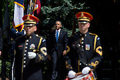 United States President Barack Obama arrives for a wreath laying ceremony at the Tomb of the Unknown Soldier at Arlington National Cemetery, May 26, 2014 in Arlington, Virginia. President Obama returned to Washington Monday morning after a surprise visit to Afghanistan to visit U.S. troops at Bagram Air Field. <br /> Credit: Drew Angerer / Pool via CNP