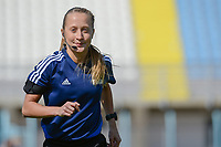20190306 - PARALIMNI , CYPRUS : Estonian assistant referee Karolin Kaivoja pictured during a women's soccer game between Finland and South Africa , on Wednesday 6 March 2019 at the Tassos Markou Stadium in Paralimni , Cyprus.  This last game for both teams which decides for places 9 and 10 of the Cyprus Womens Cup 2019 , a prestigious women soccer tournament as a preparation on the Uefa Women's Euro 2021 qualification duels.PHOTO SPORTPIX.BE | STIJN AUDOOREN
