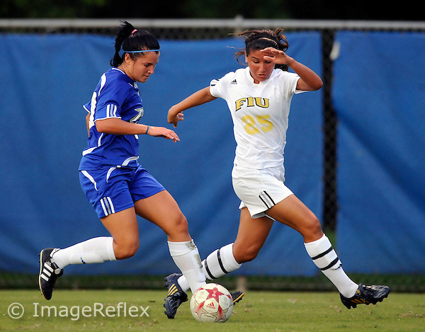 Florida International University women's soccer player midfielder defender Jessica Gambill (25) plays against Florida Gulf Coast University which won the game 3-2 on August 24, 2008 at Miami, Florida. .