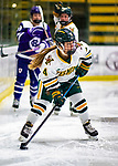 2 February 2020: University of Vermont Catamount Defender Emma Katzman, a Freshman from Wilmette, IL, in first period action against the Holy Cross Crusaders at Gutterson Fieldhouse in Burlington, Vermont. The Lady Cats rallied in the 3rd period to tie the Crusaders 2-2 in NCAA Women's Hockey East play. Mandatory Credit: Ed Wolfstein Photo *** RAW (NEF) Image File Available ***