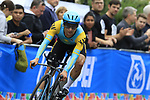 Alexey Lutsenko (KAZ) in action during the Men Elite Individual Time Trial of the UCI World Championships 2019 running 54km from Northallerton to Harrogate, England. 25th September 2019.<br /> Picture: Eoin Clarke | Cyclefile<br /> <br /> All photos usage must carry mandatory copyright credit (© Cyclefile | Eoin Clarke)