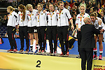 Leipzig, Germany, February 08: Players of team Germany show their silver medals during prize giving ceremony at the FIH Indoor Hockey Women World Cup on February 8, 2015 at the Arena Leipzig in Leipzig, Germany. (Photo by Dirk Markgraf / www.265-images.com) *** Local caption ***