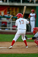 Juan Moreno (13) of the Orem Owlz at bat against the Billings Mustangs in Pioneer League action at Home of the Owlz on July 25, 2016 in Orem, Utah. Orem defeated Billings 6-5. (Stephen Smith/Four Seam Images)