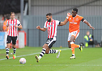 Exeter City's Luke Croll under pressure from Blackpool's Joe Dodoo<br /> <br /> Photographer Kevin Barnes/CameraSport<br /> <br /> Emirates FA Cup First Round - Exeter City v Blackpool - Saturday 10th November 2018 - St James Park - Exeter<br />  <br /> World Copyright &copy; 2018 CameraSport. All rights reserved. 43 Linden Ave. Countesthorpe. Leicester. England. LE8 5PG - Tel: +44 (0) 116 277 4147 - admin@camerasport.com - www.camerasport.com