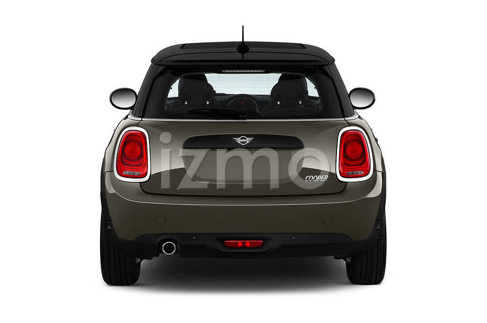 Straight rear view of a 2019 Mini mini Cooper 3 Door Hatchback stock images