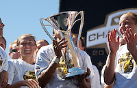 Marta kisses the 2010 WPS Championship Trophy. FC Gold Pride defeated the Philadelphia Independence 4-0 to win the 2010 WPS Championship at Pioneer Stadium in Hayward, California on September 26th, 2010.