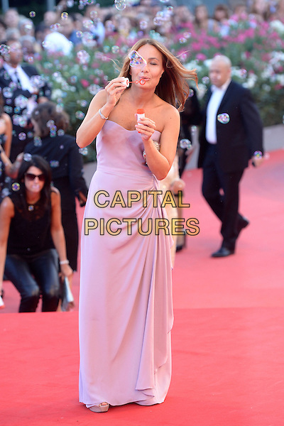 Maria Sole Tognazzi<br /> attending the Closing Ceremony of the 70th Venice International Film Festival at Palazzo del Cinema in Venice, Italy, September 7th 2013.<br /> full length pink strapless dress blowing bubbles ruched long maxi <br /> CAP/ZZG<br /> &copy;ZZG/Capital Pictures