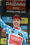 Casper Pedersen (DEN) Team Sunweb wears the first mountains Polka Dot Jersey at the end of Stage 1 of the Criterium du Dauphine 2019, running 142km from Aurillac to Jussac, France. 9th June 2019<br /> Picture: Colin Flockton | Cyclefile<br /> All photos usage must carry mandatory copyright credit (© Cyclefile | Colin Flockton)