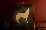 Painting of wolf howling