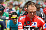 Race leader Chris Froome (GBR) Team Sky at sign before Stage 15 of the 2017 La Vuelta, running 129.4km from Alcal&aacute; la Real to Sierra Nevada. Alto Hoya de la Mora. Monachil, Spain. 3rd September 2017.<br /> Picture: Unipublic/&copy;photogomezsport | Cyclefile<br /> <br /> <br /> All photos usage must carry mandatory copyright credit (&copy; Cyclefile | Unipublic/&copy;photogomezsport)
