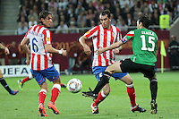 BUKARESZT 09.05.2012.MECZ FINAL LIGA EUROPY SEZON 2011/12: ATLETICO MADRYT - ATHLETIC BILBAO --- UEFA EUROPA LEAGUE FINAL 2012 IN BUCHAREST: CLUB ATLETICO DE MADRID - ATHLETIC CLUB DE BILBAO.FILIPE LUIS  DIEGO GODIN  ANDONI IRAOLA.FOT. PIOTR KUCZA.---.Newspix.pl