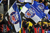 A general view of Bath Rugby flags in the guard of honour prior to the match. Aviva Premiership match, between Bath Rugby and Saracens on October 3, 2014 at the Recreation Ground in Bath, England. Photo by: Patrick Khachfe / Onside Images