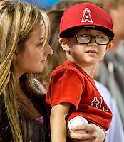 Angel fans...Mom and son take in the game.