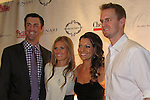 Philadelphia Phillies Pitchers Kyle Kendrick and wife Stephanie Lagrossa with Cole Hamels and wife Heidi who head the Hamels Foundation as it presents Diamonds & Denim on August 27, 2012 at the Crystal Tea Room, Philadelphia, Pennsylvania.  (Photo by Sue Coflin/Max Photos)