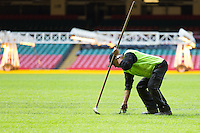 A Desso worker trims the hybrid grass with scissors at the Millennium Stadium, Cardiff, United Kingdom. 7th October 2014