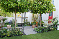 Townhouse front entry garden with house & red front door, wrought iron pretty fence, maple trees, white wall, flower garden, perennials, pebble patio, walkway, lawn grass, for sophisticated, clean, upscale small but beautiful curb appeal