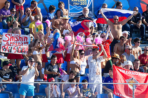 Russia fans (RUS), SEPTEMBER 06, 2011 - Beach Soccer : FIFA Beach Soccer World Cup Ravenna-Italy 2011 Group C match between Venezuela 3-7 Russia at Stadio del Mare, Marina di Ravenna, Italy, (Photo by Enrico Calderoni/AFLO SPORT) [0391]
