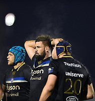 Elliott Stooke of Bath Rugby looks on during a break in play. European Rugby Champions Cup match, between Benetton Rugby and Bath Rugby on January 20, 2018 at the Municipal Stadium of Monigo in Treviso, Italy. Photo by: Patrick Khachfe / Onside Images