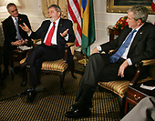 Brazil's president Luiz Lulu da Silva, center, talks to the media as United States President George W. Bush, right, listens during their meeting at the Waldorf hotel on September 24, 2007 in New York City. Bush will be meeting with several heads of state who are in the city for the United Nation's General Assembly meeting.  <br /> Credit: Monika Graff / Pool via CNP