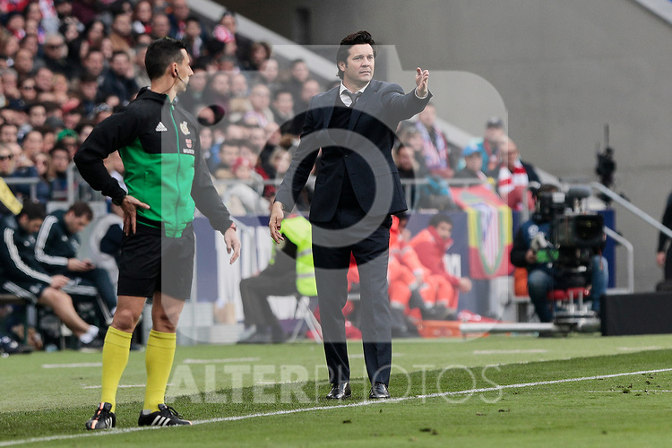 Real Madrid's coach Santiago Solari during La Liga match between Atletico de Madrid and Real Madrid at Wanda Metropolitano Stadium in Madrid, Spain. February 09, 2019. (ALTERPHOTOS/A. Perez Meca)