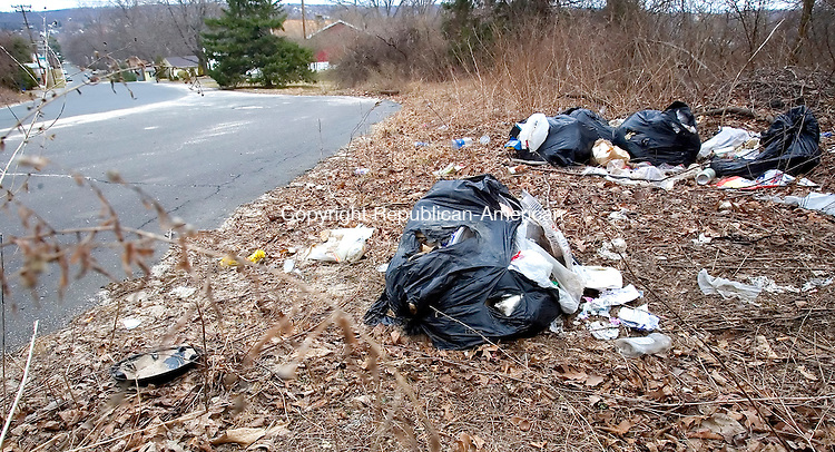 WATERBURY, CT. 10 April 2007-041007SV12--Pile of bags and other debris sit on the roadside of Hubbell Avenue, between Angel Drive and Overlook Avenue in Waterbury.<br /> Steven Valenti Republican-American