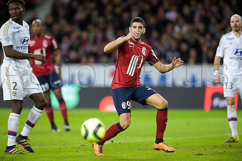 21.02.2016. Lille, France. French League 1 football. Lille versus Lyon.  Yassine Benzia (Losc) disappointed with his effort