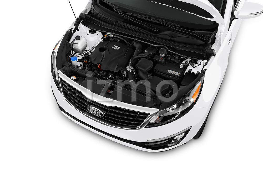 Car Stock 2016 KIA Sportage SX 5 Door Suv Engine  high angle detail view