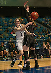 Idaho's Isablelle Hadden passes around Portland State's Pia Jurhar in a women's Big Sky Tournament semi-final game held at the Reno Events Center on Friday, March 9, 2018 in Reno, Nevada.