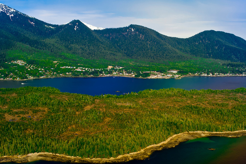 Aerial view, Ketchikan, Southeast Alaska USA