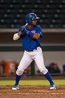 AZL Cubs 1 shortstop Josue Huma (13) at bat during an Arizona League game against the AZL Diamondbacks at Sloan Park on June 18, 2018 in Mesa, Arizona. AZL Diamondbacks defeated AZL Cubs 1 7-0. (Zachary Lucy/Four Seam Images)