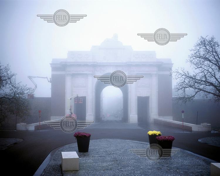 Fog shrouds the Menin Gate memorial in Ypres.