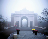 Fog shrouds the Menin Gate memorial in Ypres.