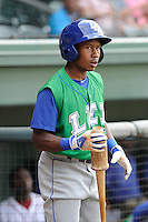 Outfielder Terrance Gore (6) of the Lexington Legends in a game against the Greenville Drive on Monday, July 22, 2013, at Fluor Field at the West End in Greenville, South Carolina. Lexington won, 7-3. (Tom Priddy/Four Seam Images)