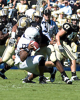 October 03, 2008: Purdue linebacker DeVarro Greaves sacks Penn State quarterback Daryll Clark. The Penn State Nittany Lions defeated the Purdue Boilermakers 20-06 on October 03, 2008 at Ross-Ade Stadium, West Lafayette, Indiana.