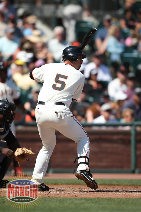 SAN FRANCISCO - SEPTEMBER 7:  Travis Ishikawa of the San Francisco Giants bats during the game against the Pittsburgh Pirates at AT&T Park in San Francisco, California on September 7, 2008.  The Giants defeated the Pirates 11-6.  Photo by Brad Mangin