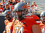 Oklahoma State Cowboys offensive linesman Grant Garner (74) in action during the game between the Baylor Bears and the Oklahoma State Cowboys at the Boone Pickens Stadium in Stillwater, OK. Oklahoma State defeats Baylor 59 to 24.