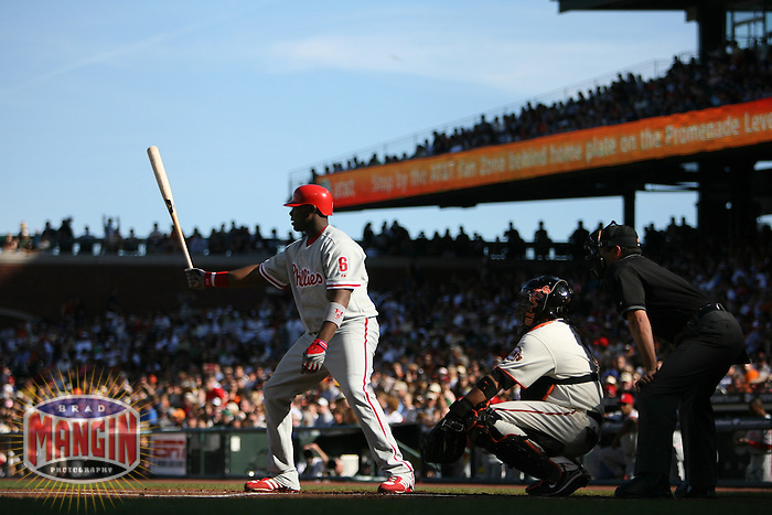 SAN FRANCISCO - May 6:  Ryan Howard of the Philadelphia Phillies bats during the game against the San Francisco Giants at AT&T Park in San Francisco, California on May 6, 2007. (Photo by Brad Mangin)