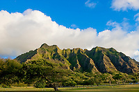 Kualoa Range lit by sunrise