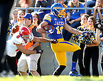 BROOKINGS, SD - OCTOBER 25:  Jake Wieneke #19 from South Dakota State University is bumped out of bounds by Donald D'Alesio #8 from Youngstown State in the first quarter of their game Saturday afternoon at Coughlin Alumni Stadium in Brookings. (Photo by Dave Eggen/Inertia)