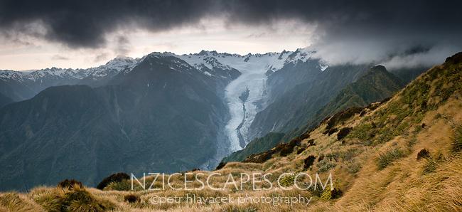 Dawn over Franz Josef Glacier, West Coast, South Island, Westland Tai Poutini National Park, UNESCO World Heritage Area, New Zealand, NZ